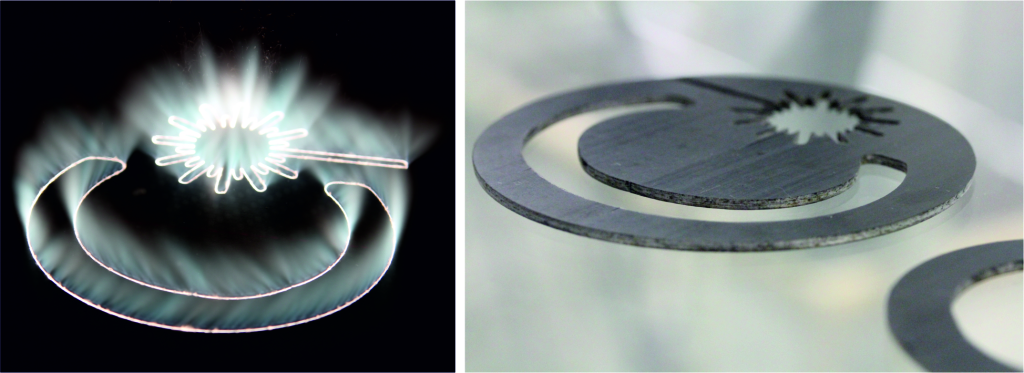 Figure 4. Laser-based CFRP cutting process (left) and cut specimens (right)