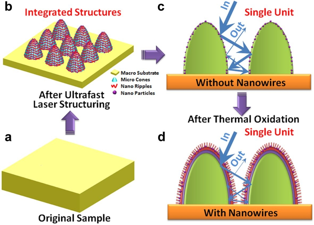 Figure 1. Schematic of the strategy for facile growth of nanowires on ultrafast laser structured surfaces: (a) Original bulk Cu sample (b) Integrated micro structure arrays (c) Single unit of the microscale structures without nanowires (d) Single unit of the microscale structures with nanowires