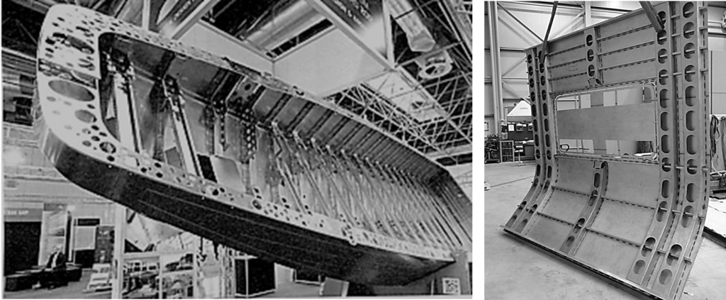 Figure 5. LSS-welded boat hull (a) and railway carriage panel (b)
