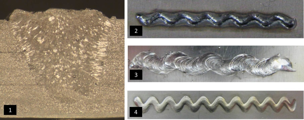 Figure 4. 3-T aluminum joint, with each layer measuring 1.5 mm (1); high-strength steel weld (2); aluminum weld (3); and stainless steel weld (4)