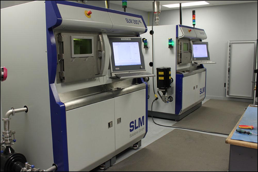 """An SLM 280 HL and an SLM 280 HL """"Twin-Laser"""" in Imperial's additive manufacturing laboratory."""
